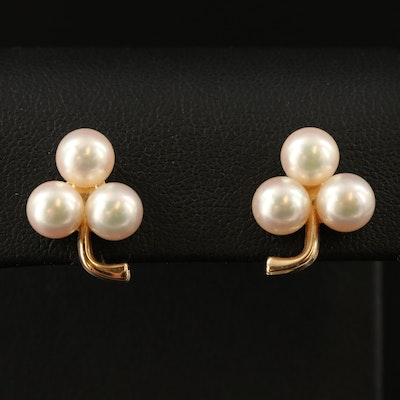 Vintage 14K Pearl Clover Motif Earrings