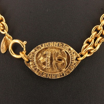 Vintage Chanel Oval Medallion Necklace with Chanel Box