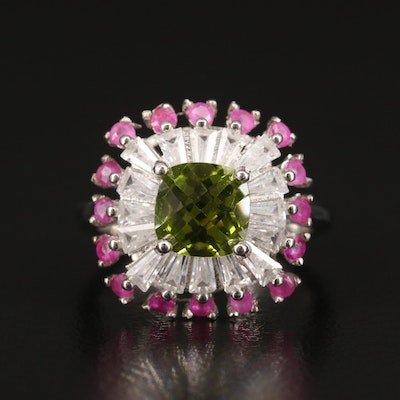 Sterling Silver Peridot, Ruby and Cubic Zirconia Square Ring