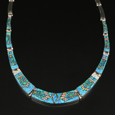 Sterling Silver Opal Inlay Graduated Collar Necklace