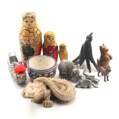 Austrian Cast Bronze Cat Miniature Figurine and Other International Items