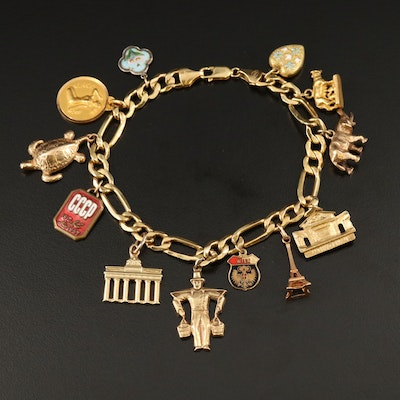14K Figaro Charm Bracelet Featuring Mixed Metal Charms and Enamel Accents