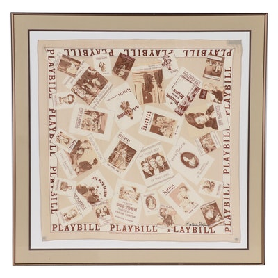 Signed Playbill Silk Scarf Featuring Early 20th and Mid-Century Playbills