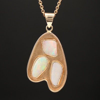 14K Opal Freeform Pendant Necklace