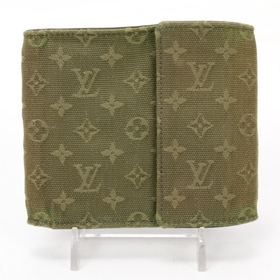 Louis Vuitton Mini Lin Wallet in Green Monogram Canvas and Cross Grain Leather