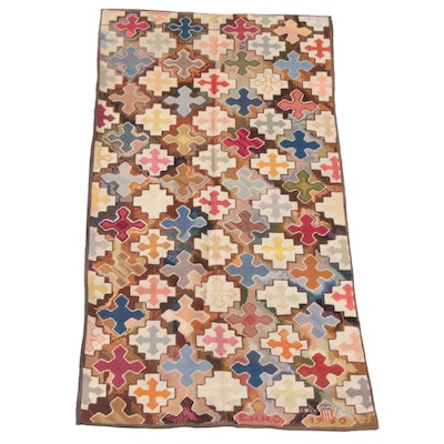 3'1 x 6'5 Hand-Stitched Wool Needlepoint Rug, 1960