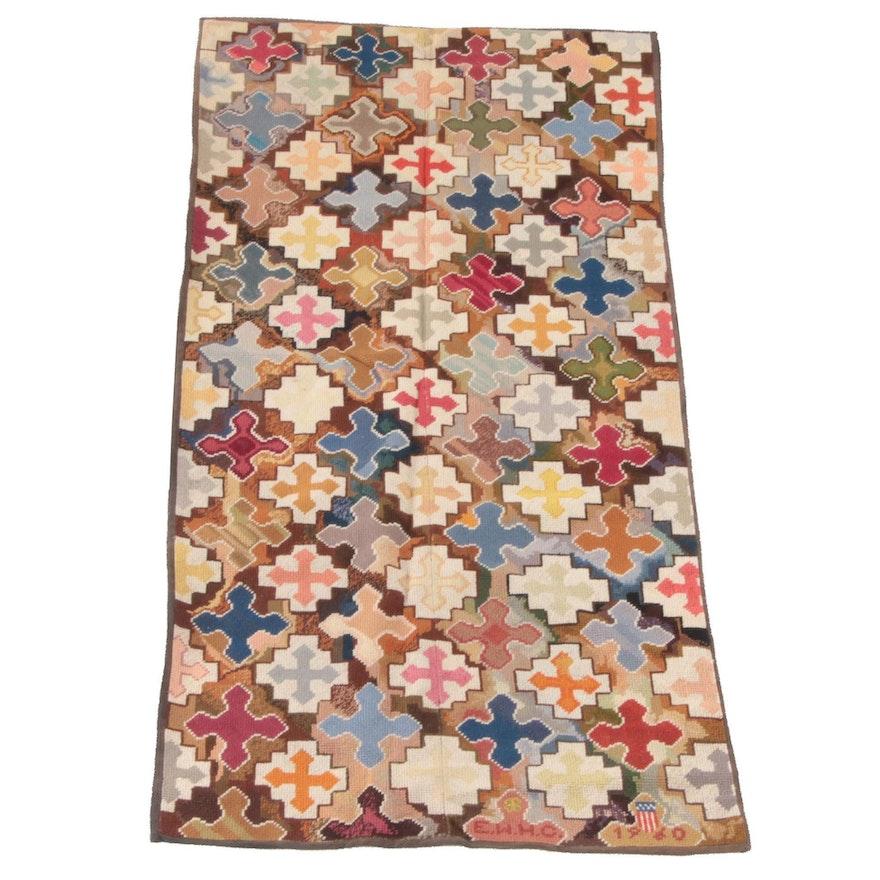 3'1 x 6'5 Hand-Stitched Wool Needlepoint Rug, 1960