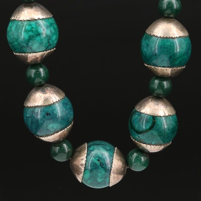 Sterling Silver Calcite and Green Glass Beaded Necklace