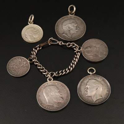 Sterling Charm Bracelet with Medal, Hungarian and German Coins