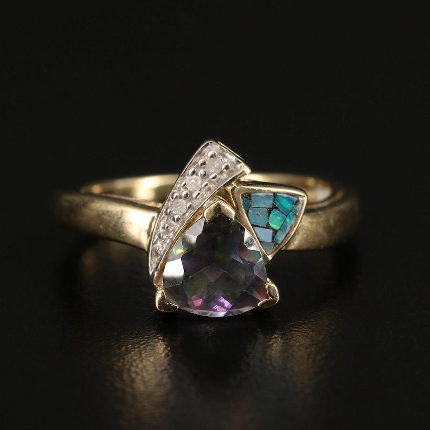 10K Mystic Topaz, Opal Mosaic and Diamond Triangular Ring