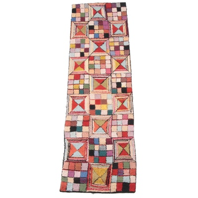 2'3 x 8'4 Hand-Hooked Geometric Wool Carpet Runner
