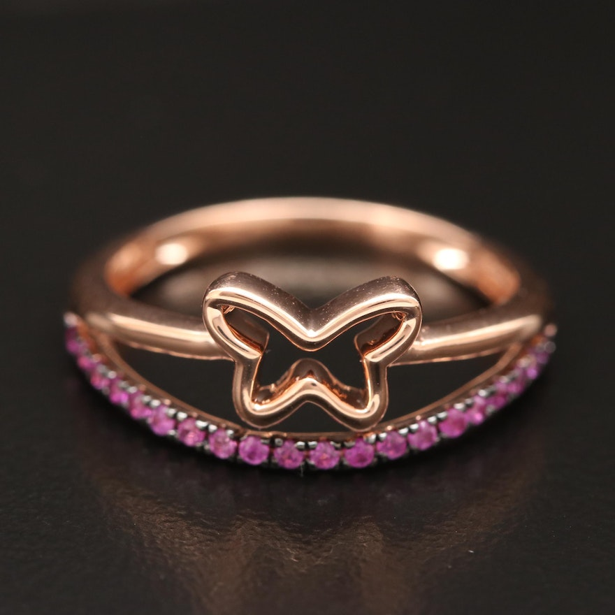 14K Gold Ruby Butterfly Ring