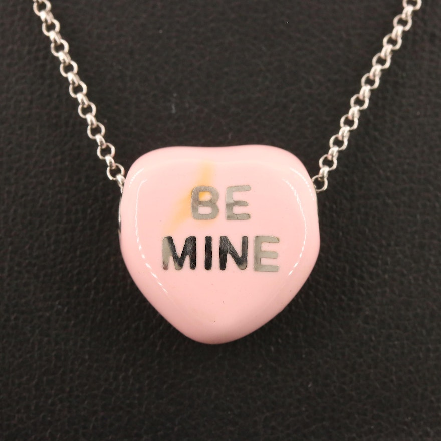 "Sweethearts Sterling Silver ""Be Mine"" Enamel Heart Necklace"