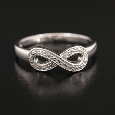 Sterling Silver Diamond Infinity Motif Ring