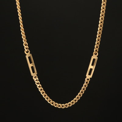 Vintage Curb Link Station Necklace
