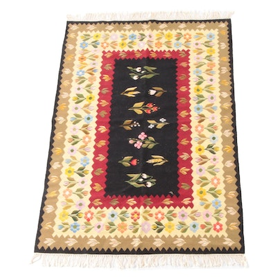 3'11 x 6'8 Handwoven Floral Wool Rug