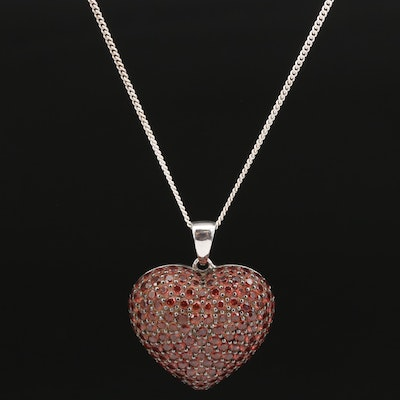 Sterling Silver Garnet Puff Heart Pendant Necklace