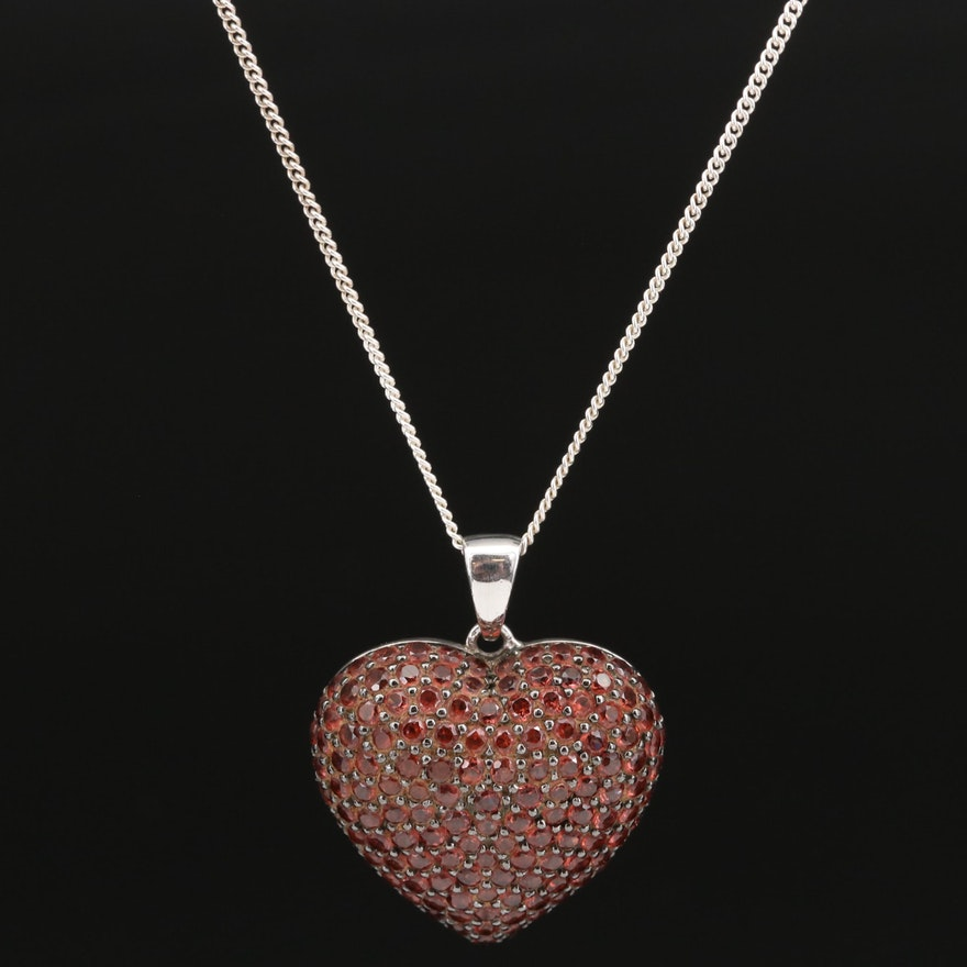 Sterling Silver Garnet Puff Heart Pendant Necklace