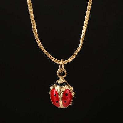 14K Enamel Lady Bug Pendant Necklace