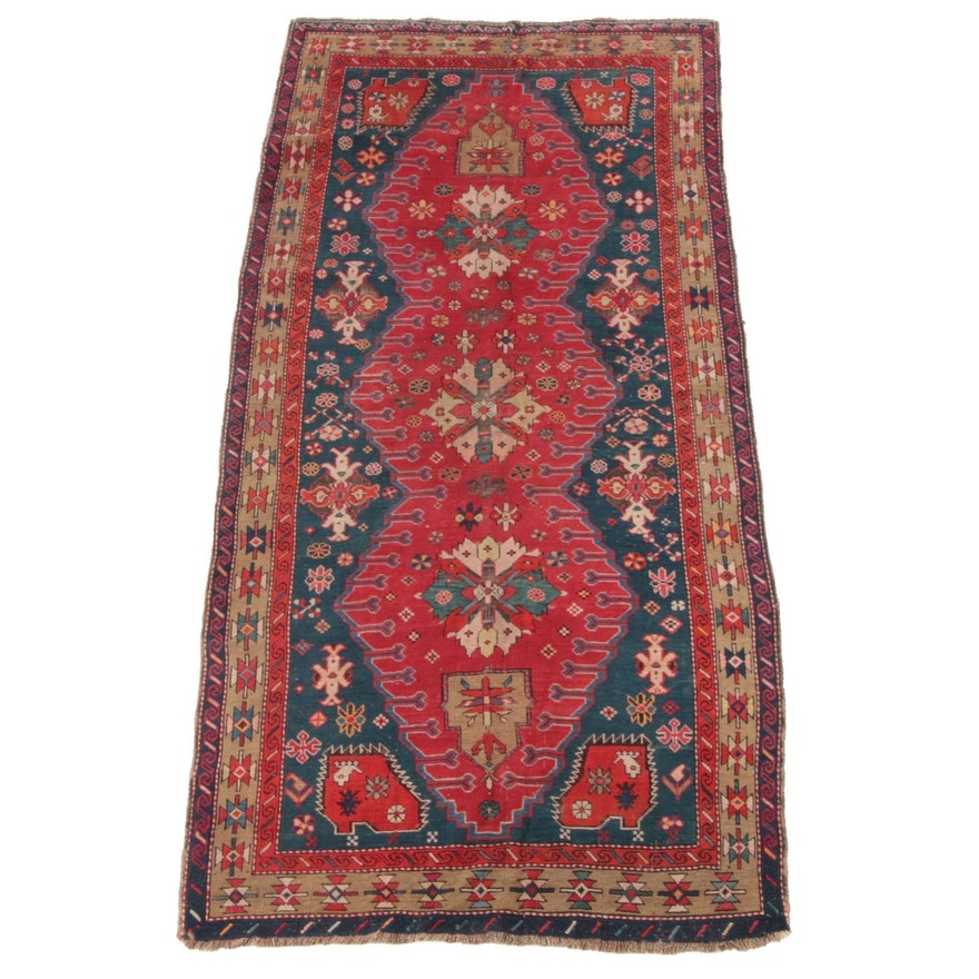 3'9 x 9'0 Hand-Knotted Causasian Shirvan Wool Long Rug