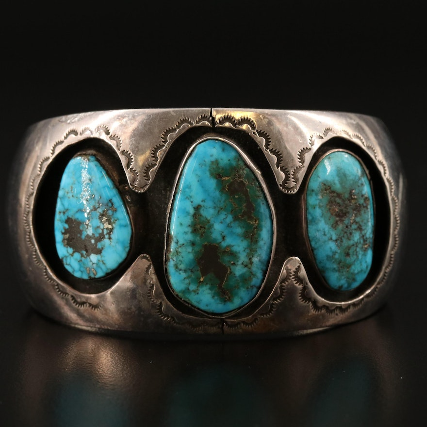 Hand Stamped Southwestern Sterling and Turquoise Shadowbox Cuff
