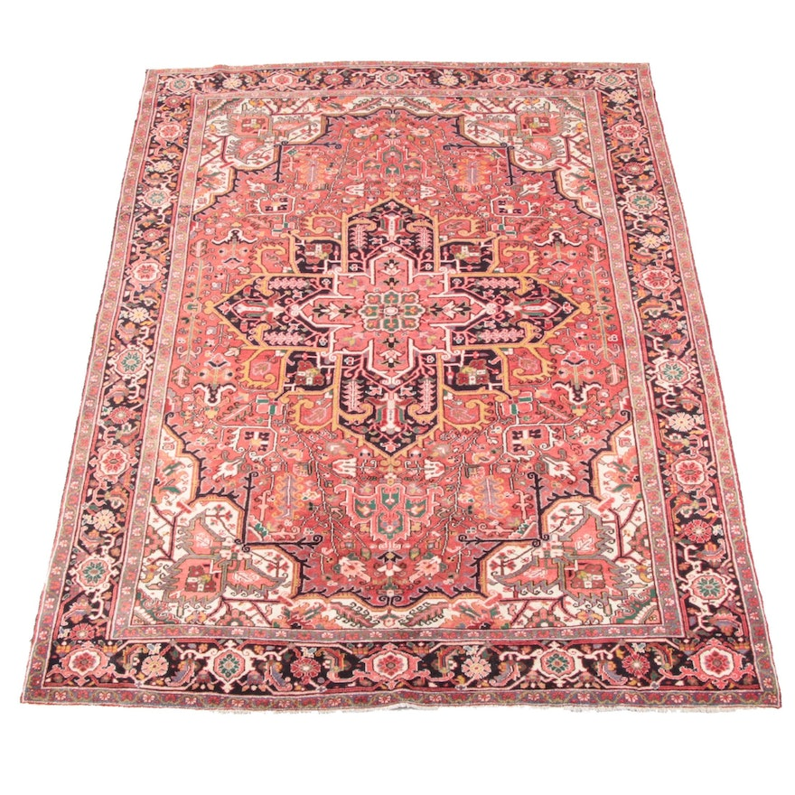 7'6 x 10'9 Hand-Knotted Persian Heriz Wool Rug