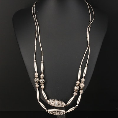 Double Strand Sterling Necklace Featuring Floral Design