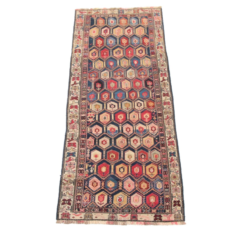 3'9 x 9'3 Han-Knotted Caucasian Kazak Wool Long Rug