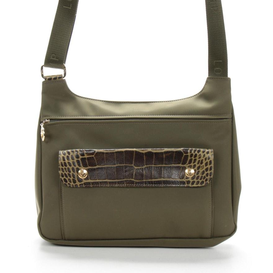 Longchamp Nylon and Crocadile Embossed Crossbody Bag
