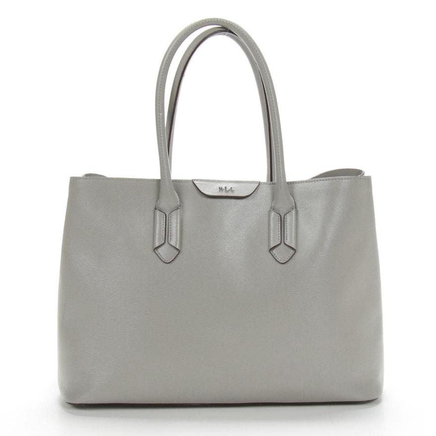 Lauren Ralph Lauren Grey Leather Satchtel