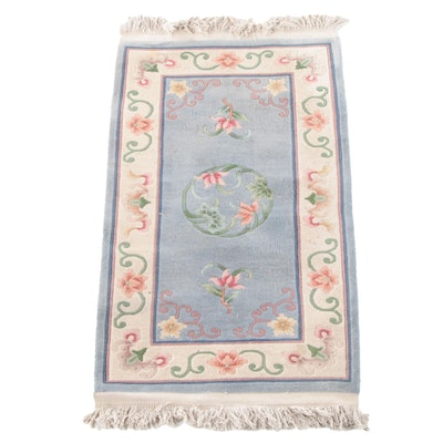 2'7 x 5'2 Hand-Knotted Chinese Caved Floral Wool Rug