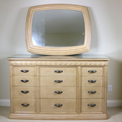 Bernhardt Blonde Oak Carved Twist-Motif Dresser and Wall Mirror, Late 20th C.