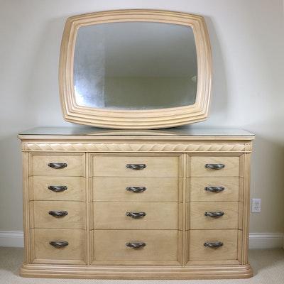 Bernhardt Blonde Oak Carved Twist-Motif Dresser and Wall Mirror, Late 20th C.