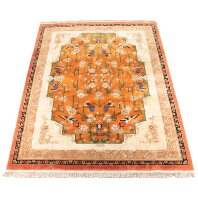 8'11 x 12'10 Hand-Knotted Chinese Carved Pictorial Wool Rug