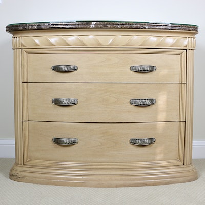 Bernhardt Blonde Oak Carved Twist-Motif and Marble Top Chest of Drawers