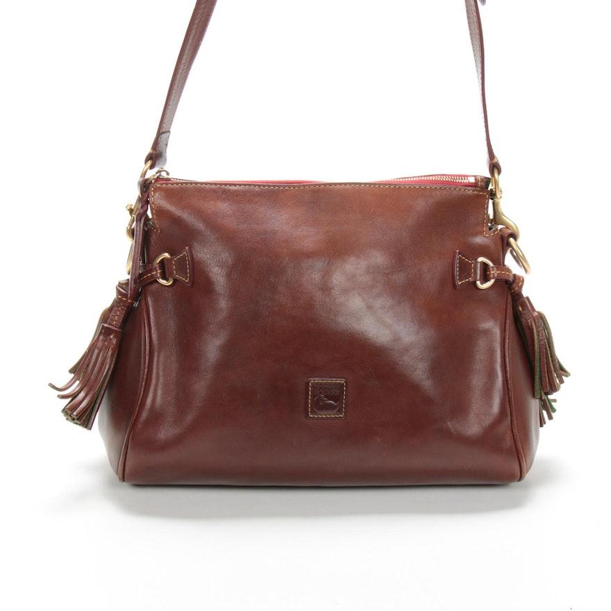 Dooney & Bourke Brown Leather Shoulder Bag with Fringe Details