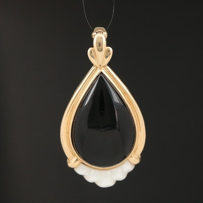 14K Black Onyx and Mother of Pearl Enhancer Pendant