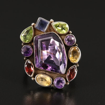 Sterling Silver Ring with Amethyst, Garnet and Peridot