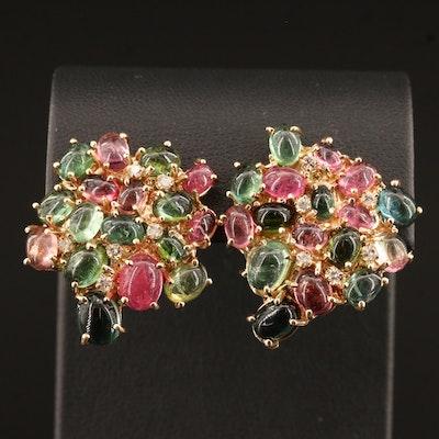 14K Tourmaline and Diamond Cluster Earrings