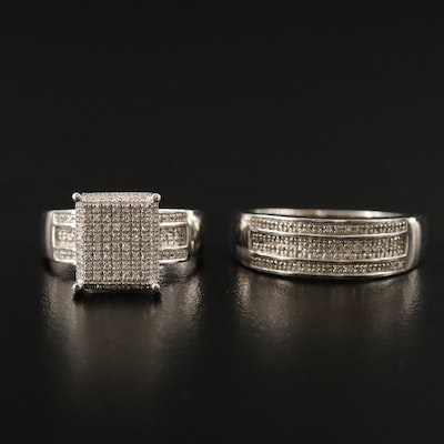 Sterling Silver Pavé Ring and Band
