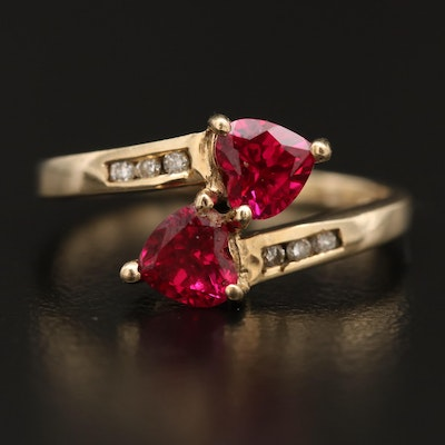 10K Ruby Heart and Diamond Bypass Ring