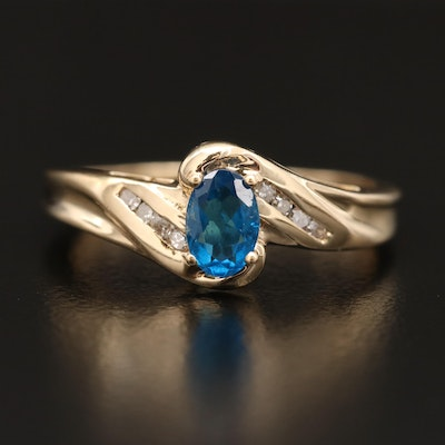 10K Apatite and Diamond Ring