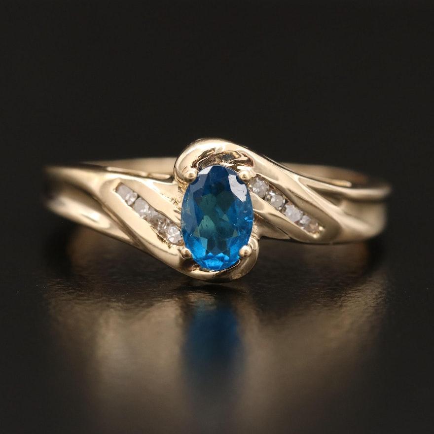 10K Apatite and Diamond Ring
