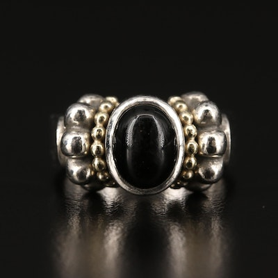 Caviar by Lagos Silver Black Onyx Ring with 18K Accents