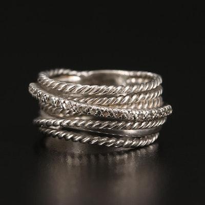 David Yurman Sterling Silver Diamond Crossover Ring