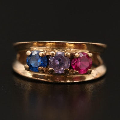 10K Spinel, Color Change Sapphire and Ruby Split Shank Ring