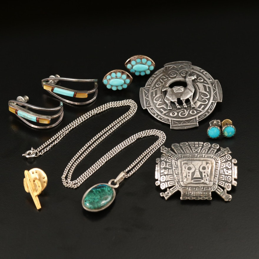 Sterling and 900 Silver Jewelry Featuring Turquoise and Eilat Stone