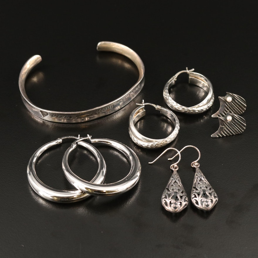 Sterling Silver Earrings and Cuff