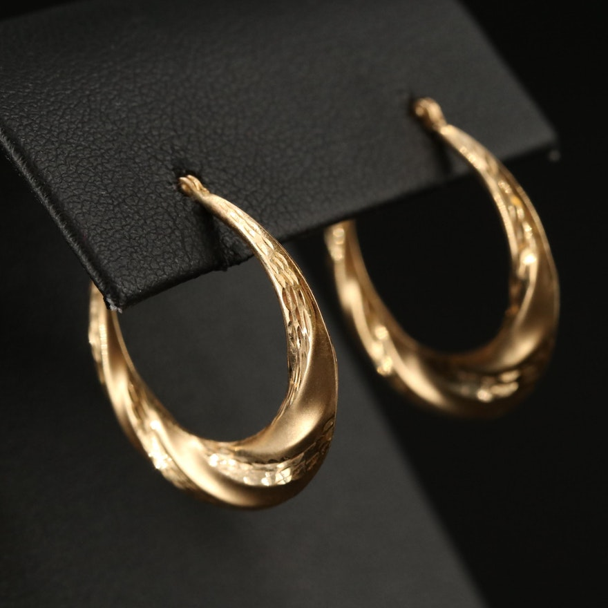 14K Textured and Twisted Hoop Earrings