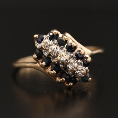 10K Diamond and Sapphire Cluster Bypass Ring
